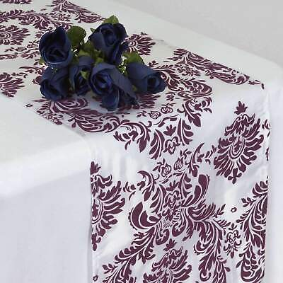 Damask Decorations (10 Pack Flocking Damask Table Runners Wedding Party Decoration 5+)