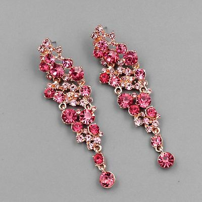 ROSE GOLD Plated Rose Pink Crystal Rhinestone Wedding Drop Dangle Earrings 04039