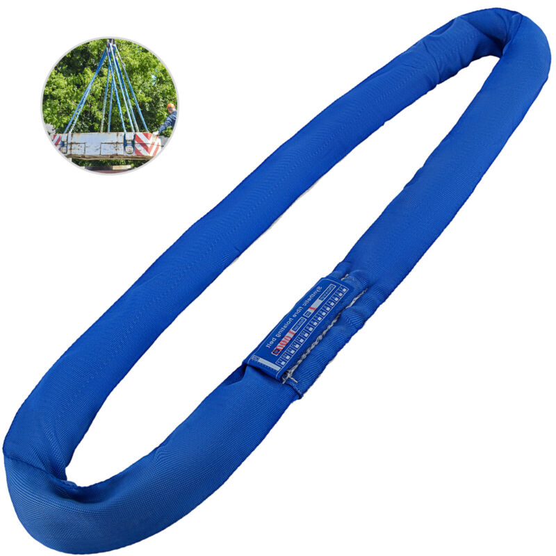 Endless Round Lifting Sling 20FT 17600Lbs Anti-corrosion Blue Polyester Steel