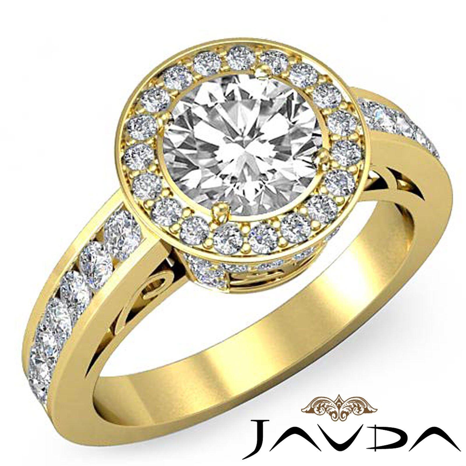 Circa Halo Micro Pave Round Diamond Engagement Anniversary Ring GIA F VS2 2.3Ct