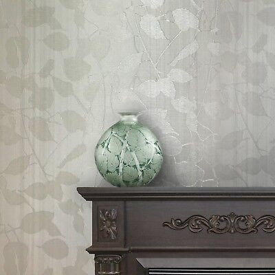 (Portofino Modern Wallpaper white Metallic Textured Tree Leaves 3D lines stripes)