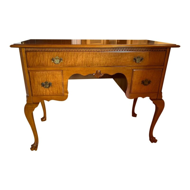 Kindel Furniture Queen Anne Style Birdseye Maple Kneehole Writing Desk or Vanity