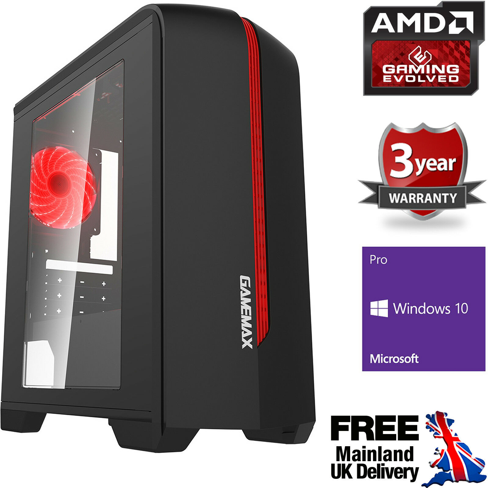 Computer Games - Ultra Fast AMD Dual Core 4.1 Home Gaming PC Computer HD 8GB 2TB Windows 10 CentR