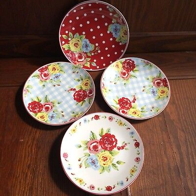 222 FIfth Red Floral Roses NEW COUNTRY Round Appetizer Plates A Set of 4 Four (Country Appetizer)