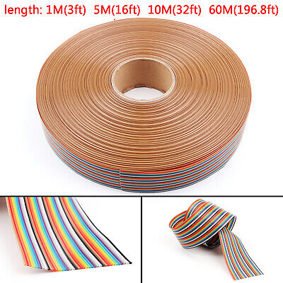 10 12 14 16 20 26 30 34 40Pin Farbe Rainbow Ribbon Flachbandkabel 1.27mm Pitch H