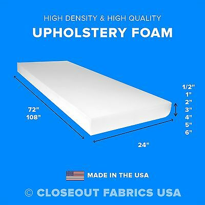 "High Density Upholstery Foam Seat Cushion Replacement - 24"" x 72"" & 24"" x 108"""