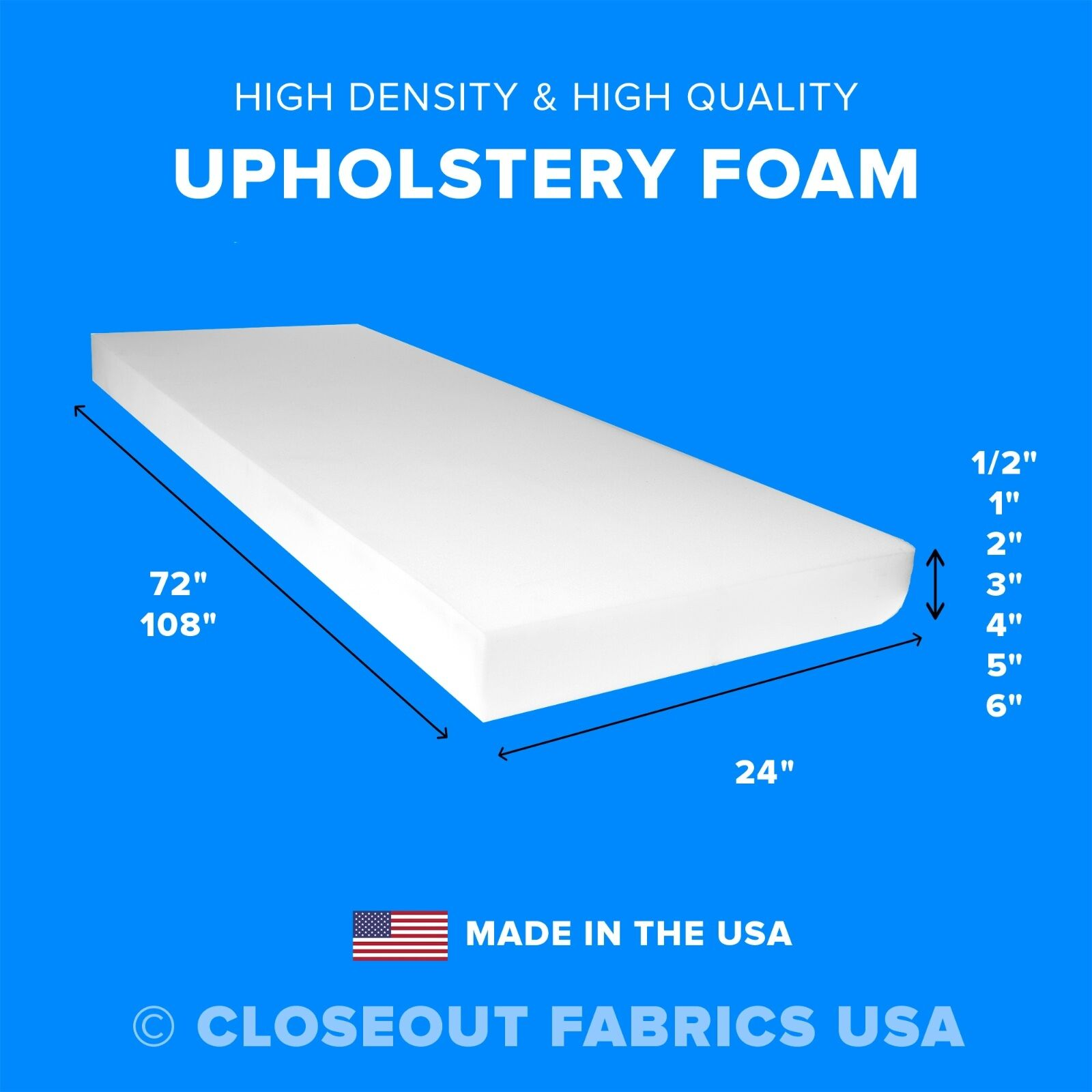 High Density Upholstery Foam Seat Cushion Replacement - 24""