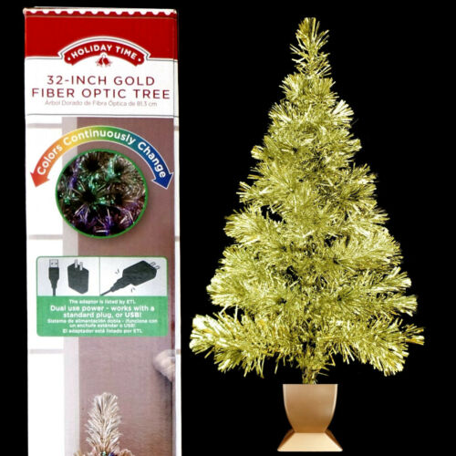 FIBER OPTIC CHRISTMAS TREE / GOLD TINSEL / LED LIGHTING / NEW in BOX / LAST ONE!