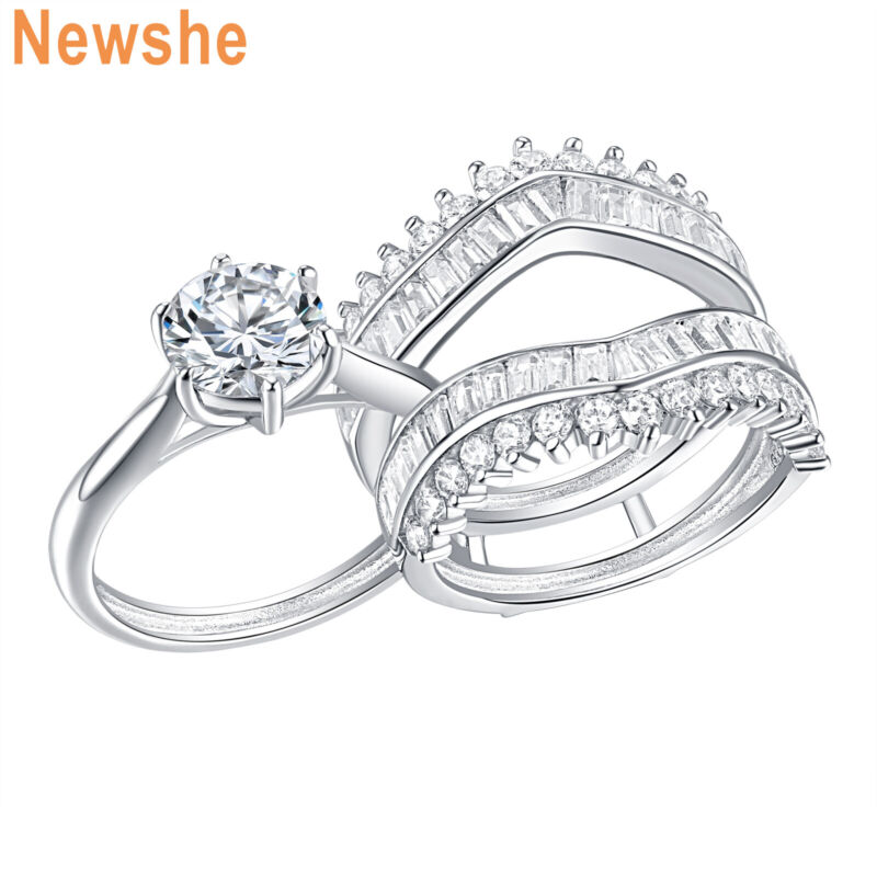 Newshe Wedding Rings For Women Engagement Ring Guard Set Sterling Silver Aaaa Cz