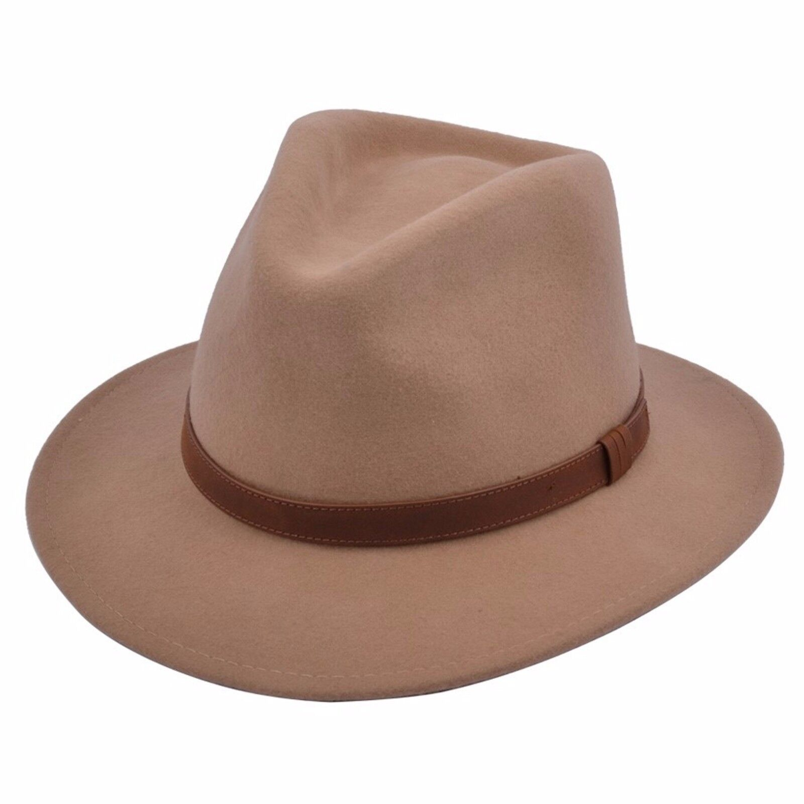 Gents Crushable 100/% Wool Felt Trilby Fedora Hat With Leather Type Band Brown