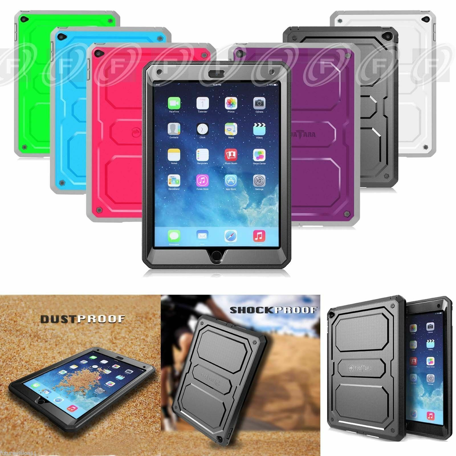 iPad 2/3/4 Rugged Unibody Dual Layer Case Cover with Built-i