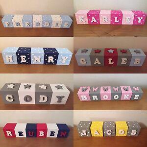 Personalised Childrens Name Blocks Wooden Kids Bedroom Baby Nursery Decoration