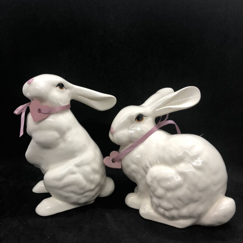 Rare Vintage Lasting Products Inc White Bunny Rabbit Hand Painted Pair Figurines