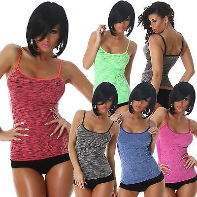Damen Funktionstop Sport Top Trägertop S 32 34 36 Freizeit Workout Joggen Shirt