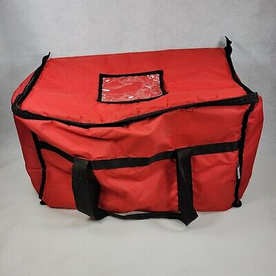 Choice Insulated Food Pizza Delivery Bag Large 22x12x12 Zip Red Dash Eats Grub