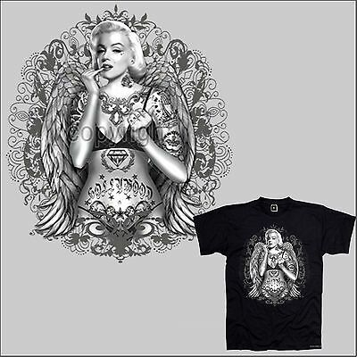 Rockabilly Tattoo design Flash Girl Pinup legend T-Shirt *1033 bl
