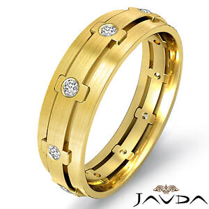 Round-Bezel-Diamond-Mens-Dome-Ring-18k-Yellow-Gold-Eternity-Wedding-Band-0-25Ct