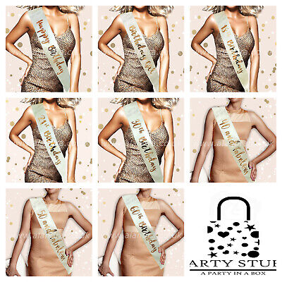 Rose Gold Sash Happy Birthday Birthday Girl Sashes Rose Gold Party Milestone