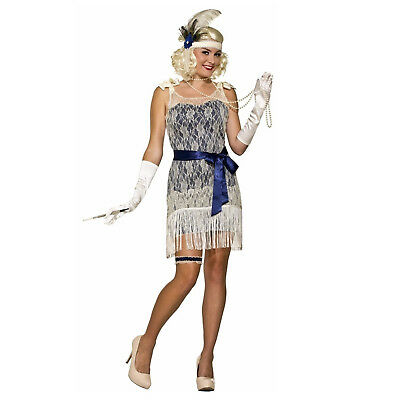Adult Flapper Dress Adult Costume 20s Great Gatsby White Jazz Gold Coast Social](Jazz Flapper Costume)