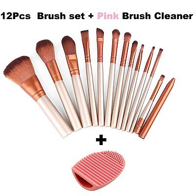 12pcs Kabuki Professional Make up Brushes Set Foundation Blusher + Pink Cleaner