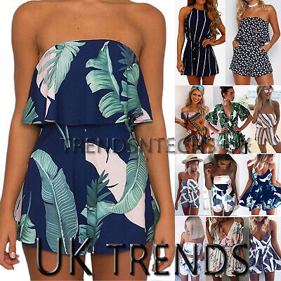 Floral Print Romper (UK Women Holiday Playsuit Romper Ladies Jumpsuit Summer Beach Dress Print Floral)