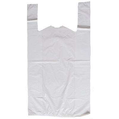 1000 Extra Very Strong White Vest Carrier Bags  26mu 12