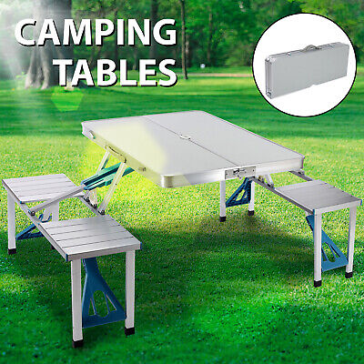 One-Piece Folding Camping Picnic Table 4 Seats Bench Aluminum Portable -