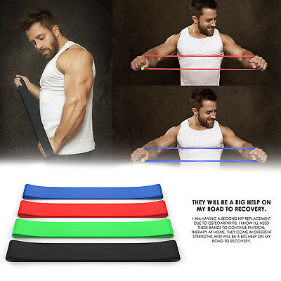 Premium Resistance Loop Bands, BEST - Set of 4 - Home Fitness Exercise