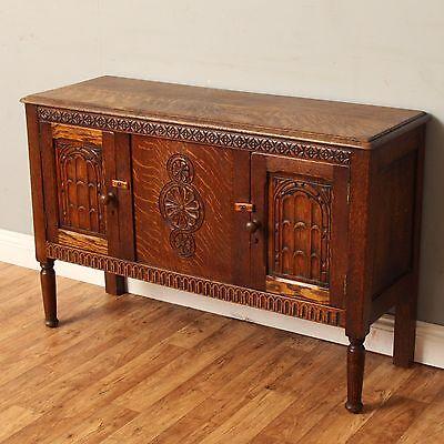 Lovely Small 3.5ft Antique Carved Oak Sideboard Buffet Server Cottage Cupboard
