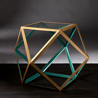 JAT22532 BLUE & CHAMPAGNE GOLD GEOMETRIC ACCENT TABLE