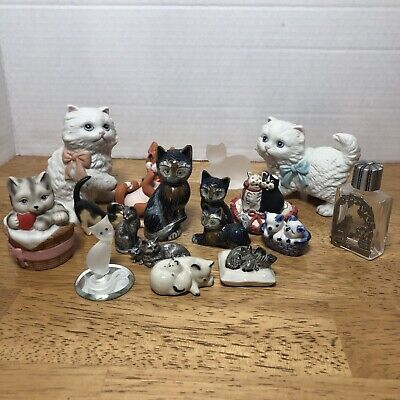 Lot of 17 Vintage Kitty Cat Figurines Various Makers