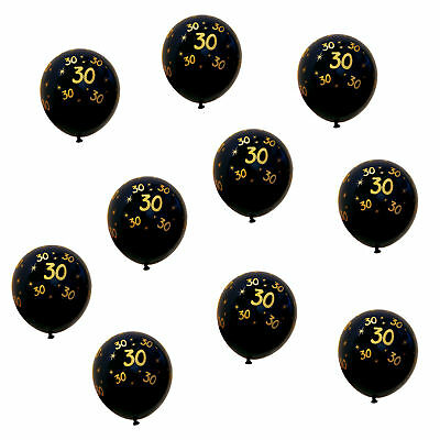 Luftballons Schwarz (10x Luftballons Zahl 30 für Geburtstag Jubiläum Hochzeitstag Ballons Schwarz)