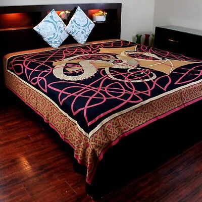 Cotton Celtic Dragon Tapestry Wall Hanging Tablecloth Bedspread Full 88x106 Red for sale  Concord
