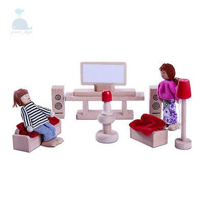 Latest 2018 Wooden Furniture Dolls House Living Room Set Miniature No Dolls
