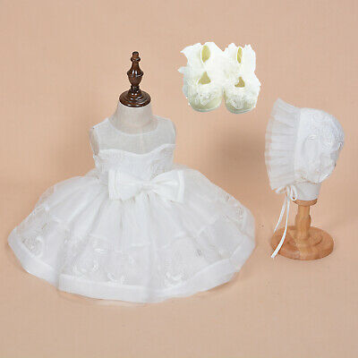Taufe Motorhaube (Baby Mädchen Spitze Taufe Kleid Hochzeit Kleid Motorhaube und Schuhe)