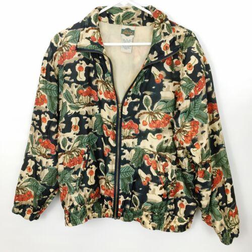 Vintage cherry floral print Outbrook silk bomber jacket unisex Medium full zip