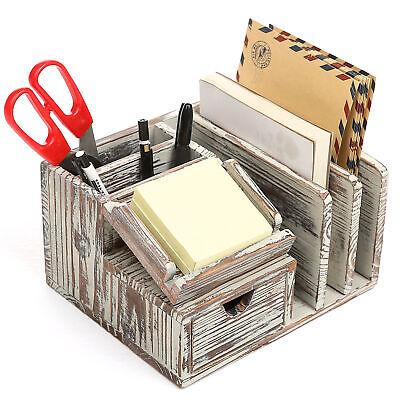 Torched Wood Desktop Office Organizer W Sticky Note Pad Holder Mail Sorter