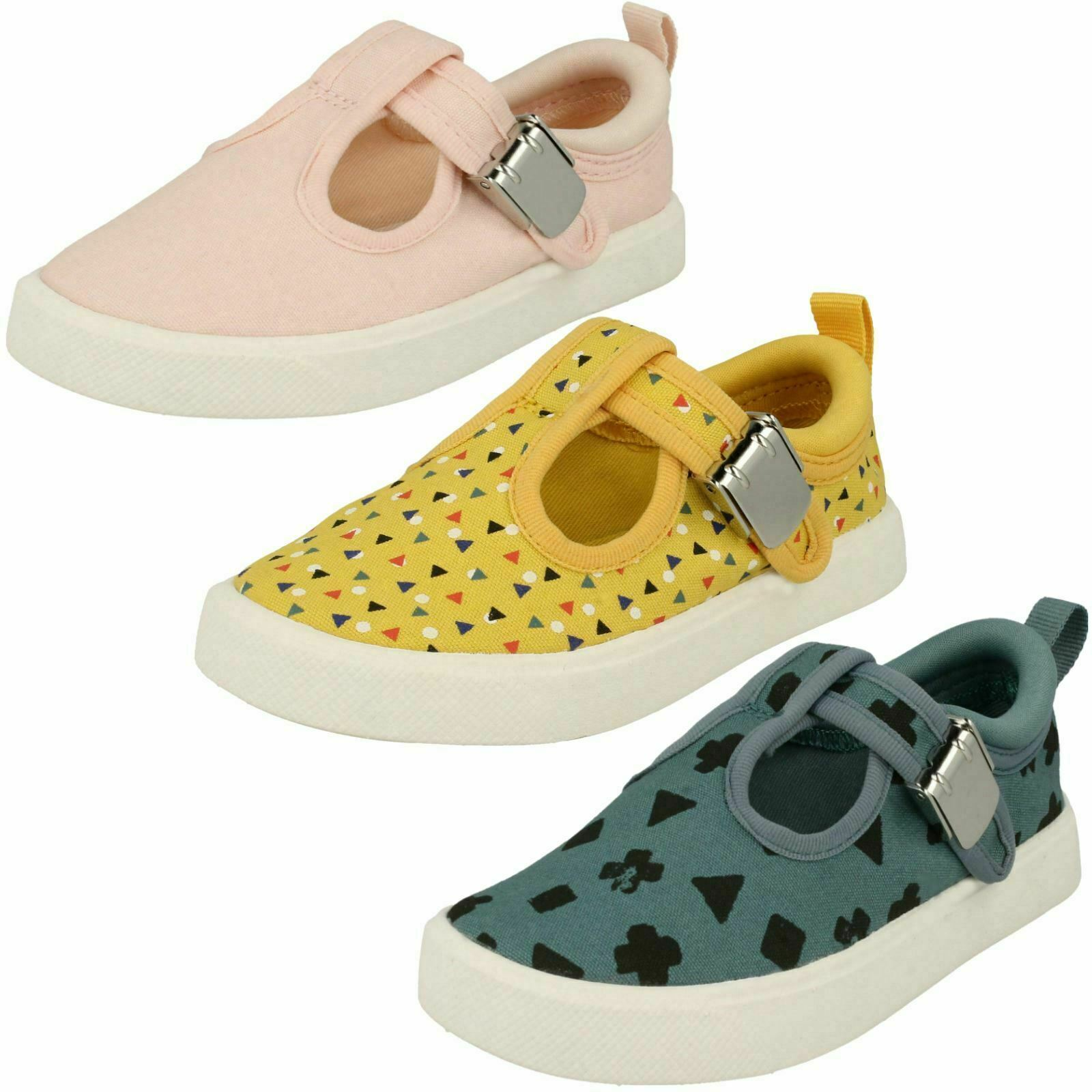 GIRLS BOYS TODDLER CLARKS T BAR CLASP SUMMER PUMPS CANVAS SHOES CITY SPARK SIZE