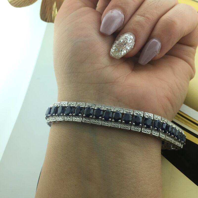 "Vintage 925 Sterling Silver Genuine Blue Real Sapphire Tennis Bracelet 7.25"""