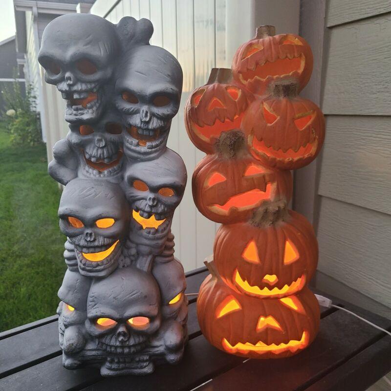 """Vintage 18"""" Foam Light Up Pumpkins & Skulls Set of 2 Trendmasters Indoor Use"""
