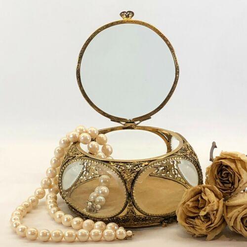 Vintage Gold Plated?? Ormolu Casket Jewelry Trinket Box Beveled Glass Vanity