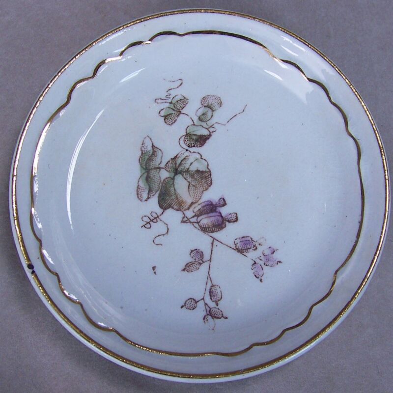 "Antique 3"" Porcelain Earthenware Butter Pat Dish Brown Ivy Leaves Gold Trim"