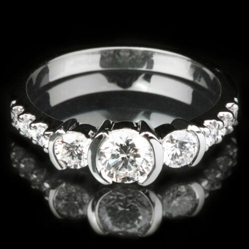 2 CTW Round Brilliant Cut Diamond Engagement Ring GIA Certified 18k White Gold
