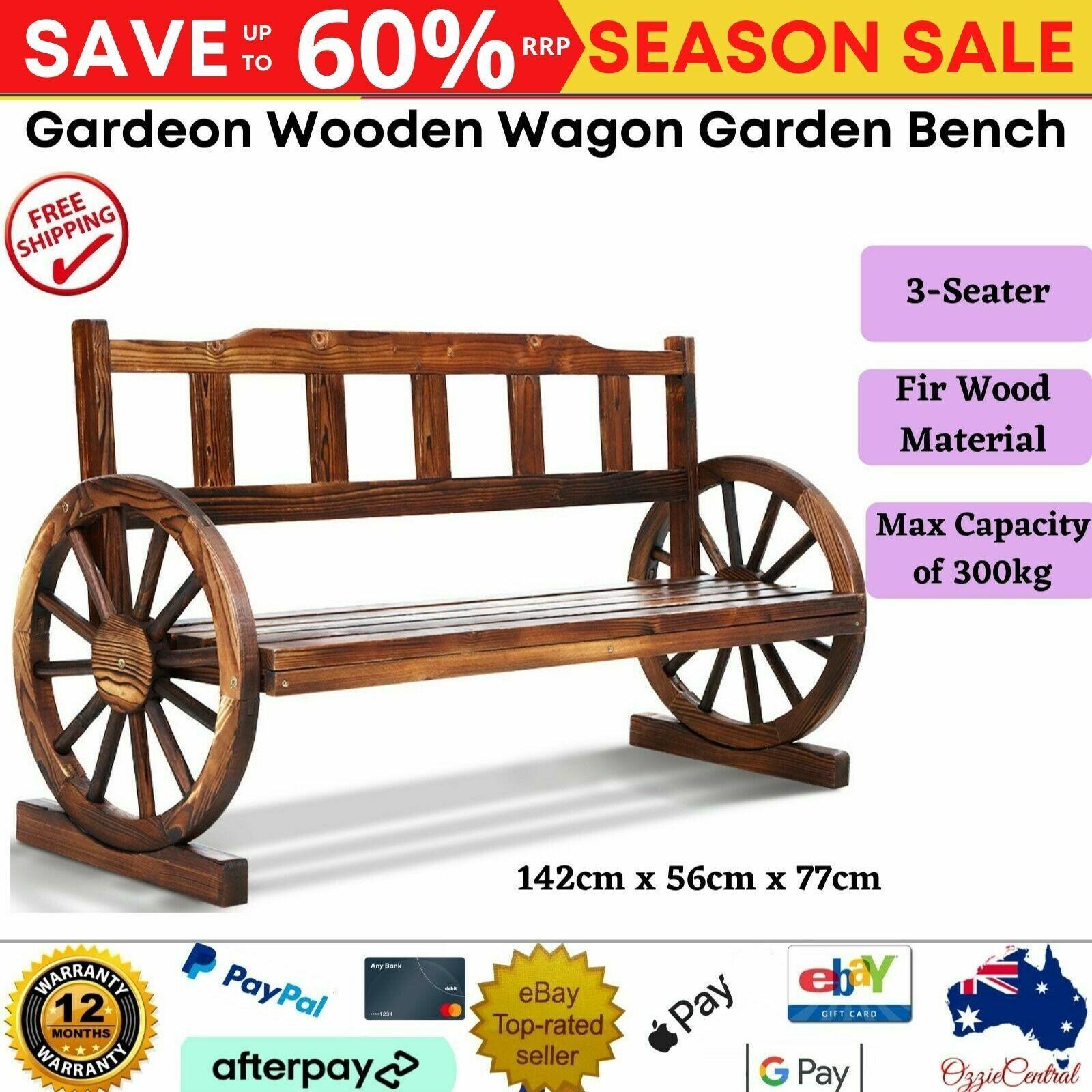Garden Furniture - Gardeon Wooden Wagon Garden Bench 3 Seat Outdoor Chair Lounge Patio Furniture AU