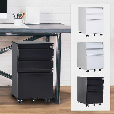 24 Rolling File Cabinet Mobile Pedestal Filing Storage Organizer Steel 3 Drawer