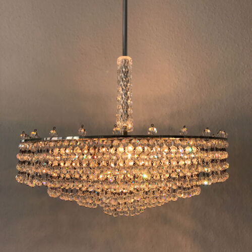 Stunning Mid Century Chandelier Crystal Glass Pearls 6 Lights 4-tiered Palwa Era