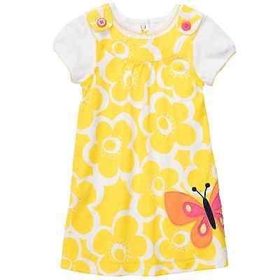 - New Carter's Yellow Butterfly Jumper Dress & Top Set - Size 3 months