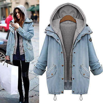 Damen Winter Jacke Parka Mantel Winterjacke Jeansjacke Kapuze Weste Outwear Tops