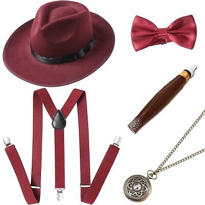 1920s Gangster Costumes (1920s Men Gatsby Gangster Costume Accessories Set Great Gatsby Men)