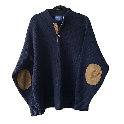 Pendleton Wool Sweater Navy Blue Mens Large Pullover Long Sleeve Elbow Patches